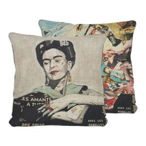 Oboustranný povlak na polštář s příměsí lnu Madre Selva Frida Collage, 45x45cm