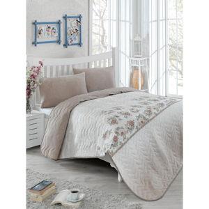 Set přehozu přes postel a povlaku na polštář s příměsí bavlny Eponj Home Lustro Brown, 160 x 220 cm