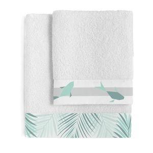 Sada 2 bavlněných ručníků Blanc Zigzag