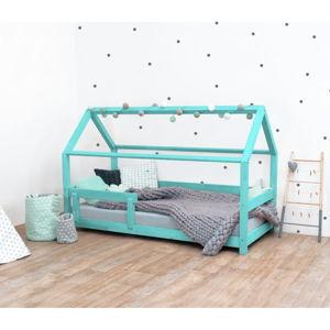 Tyrkysová dětská postel s bočnicí ze smrkového dřeva Benlemi Tery, 90 x 200 cm