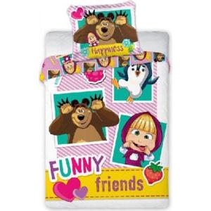 Forclaire Dětské povlečení 135x100 + 60x40 cm Máša a medvěd Friends
