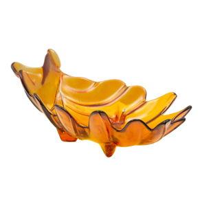Oranžová miska z recyklovaného skla Mauro Ferretti Leaf, 33x20cm