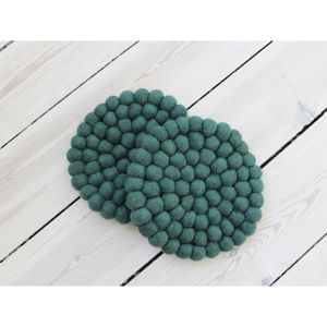 Tmavě zelený kuličkový podtácek z vlny Wooldot Ball Coaster, ⌀ 20 cm