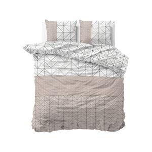 Bílo-béžové flanelové povlečení na dvoulůžko Sleeptime Gino,200x220cm