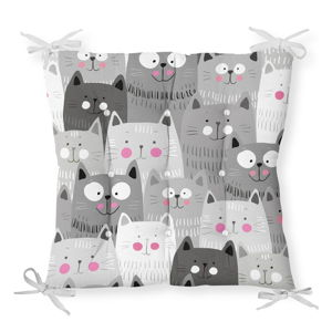 Podsedák na židli Minimalist Cushion Covers Gray Cats, 40 x 40 cm