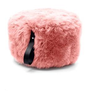 Růžový puf z ovčí kožešiny s černým detailem Royal Dream,Ø60cm