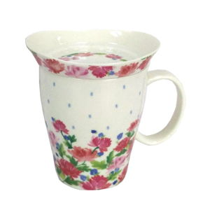 Hrnek z kostního porcelánu s pokličkou Silly Design English Roses, 330 ml