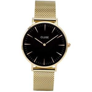 Dámské hodinky z nerezové oceli ve zlaté barvě s černým ciferníkem Cluse La Bohéme