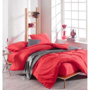 Set červeného povlečení s prostěradlem na dvoulůžko Basso Rojo, 200 x 220 cm