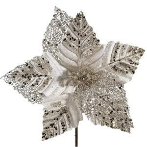 Vánoční plastová dekorace ve tvaru květu v béžové a zlaté barvě DecoKing Diana