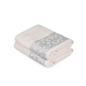 Sada 2 bílých ručníků na ruce s modrým lemováním Grace
