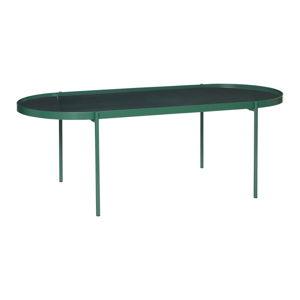 Zelený stůl se skleněnou deskou Hübsch Table, délka 120 cm