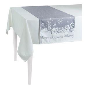 Šedý vánoční běhoun na stůl Apolena Honey Christmas, 40 x 140 cm