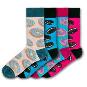 Sada 4 párů barevných ponožek Funky Steps Exotic Cookies and Donuts, velikost 35 - 39 a 41 - 45