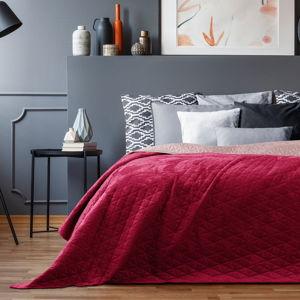 Červený sametový přehoz přes postel AmeliaHome Laila Mauve, 220x240cm