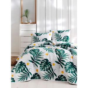 Set bavlněného přehozu přes postel a povlaku na polštář Lura Jungle, 160 x 220 cm