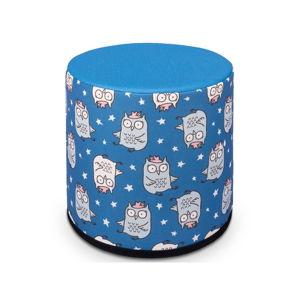 Modrý dětský sedací puf s motivem soviček KICOTI, 40 x 40 cm