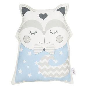 Modrý dětský polštářek s příměsí bavlny Apolena Pillow Toy Smart Cat, 23 x 33 cm