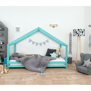 Tyrkysová dětská postel z lakovaného smrkového dřeva Benlemi Sidy, 120 x 200 cm