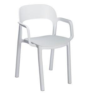 Sada 4 bílých zahradních židlí s područkami Resol Ona