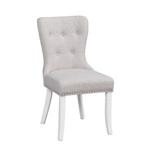 Bílá polstrovaná jídelní židle s březovou konstrukcí Rowico Ina