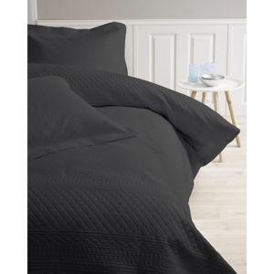 Černý přehoz z mikroperkálu se dvěma povlaky na polštář Sleeptime Charlene 250x260cm