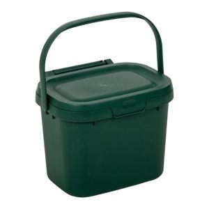 Lahvově zelený víceúčelový plastový kuchyňský kbelík s víkem Addis, 24,5 x 18,5 x 19 cm