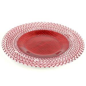Červený skleněný talíř Unimasa Festive, ø33cm