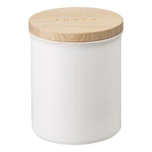 Bílá dóza s bambusovým víčkem YAMAZAKI Tosca, ø9,5cm