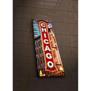 Podsvícený obraz Chicago, 30x90cm