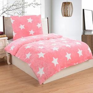 Světle růžové mikroplyšové povlečení na jednolůžko My House Stars, 140x200cm
