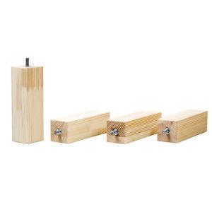 Sada 4 prodloužených nohou z přírodního smrkového dřeva k posteli Benlemi,výška20cm