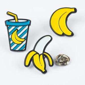 Sada 3 kovových odznaků Just Mustard Banana