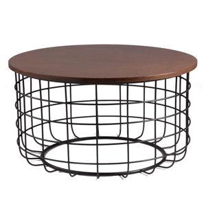 Černý odkládací stolek s deskou v dekoru ořechového dřeva sømcasa Celso, ø 80cm