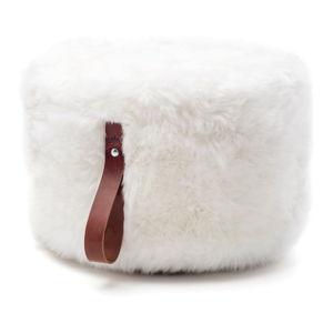 Bílý puf z ovčí kožešiny s hnědým detailem Royal Dream,Ø60cm