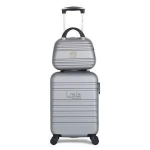 Set šedého skořepinového zavazadla na 4 kolečkách a kosmetického kufříku LPB Aurelia