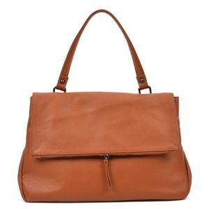 Dámská kožená kabelka v koňakově hnědé barvě Carla Ferreri Claudia