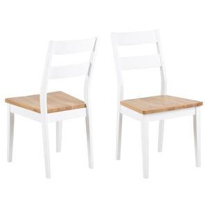 Hnědo-bílá jídelní židle z kaučukového a dubového dřeva Actona Derri