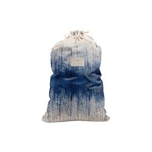 Látkový vak na prádlo s příměsí lnu Linen Couture Bag Blue Hippy, výška 75 cm