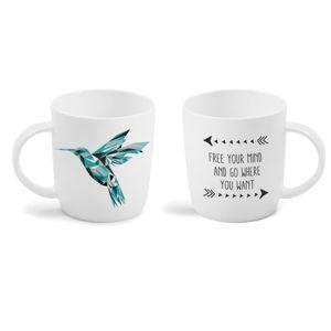 Hrnek z kostního porcelánu s oboustranným potiskem Vialli Design Hummingbird, 370ml