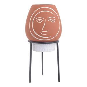 Cihlově červený keramický květináč s podstavcem InArt Face,ø12cm