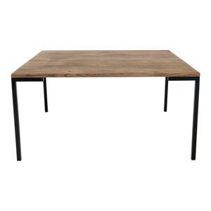 Černý konferenční stolek s tmavou deskou z dubového dřeva House Nordic Lugano, 90 x 90 cm
