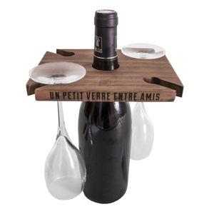 Hnědý stojan na víno a skleničky Antic Line Entre Amis