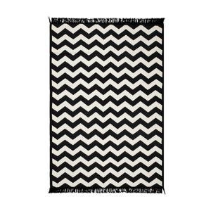 Černo-bílý oboustranný koberec Zig Zag, 140 x 215 cm