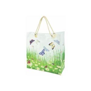 Bílá nákupní taška s potiskem motýlů Esschert Design Butterfly