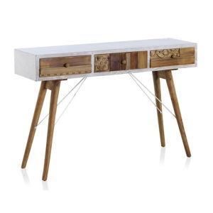 Konzolový stůl s bílými detaily a třemi šuplíky Geese Rustico Puro