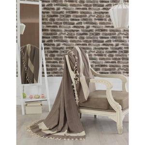 Hnědý bavlněný přehoz přes postel Baliksirfi Brown, 200 x 230 cm