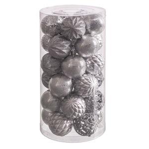 Sada 30 vánočních ozdob ve stříbrné barvě Unimasa Brightness