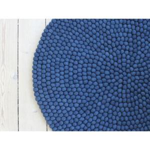 Modrý kuličkový vlněný koberec Wooldot Ball Rugs, ⌀ 120 cm