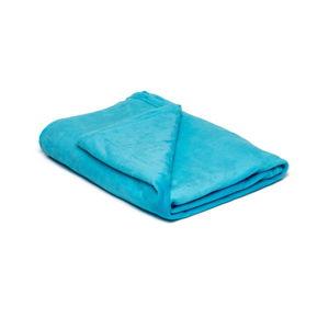 Tyrkysově modrá mikroplyšová deka My House, 150 x 200 cm